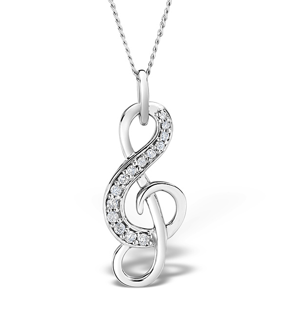 9K White Gold 0.10ct Diamond Treble Clef Music Pendant