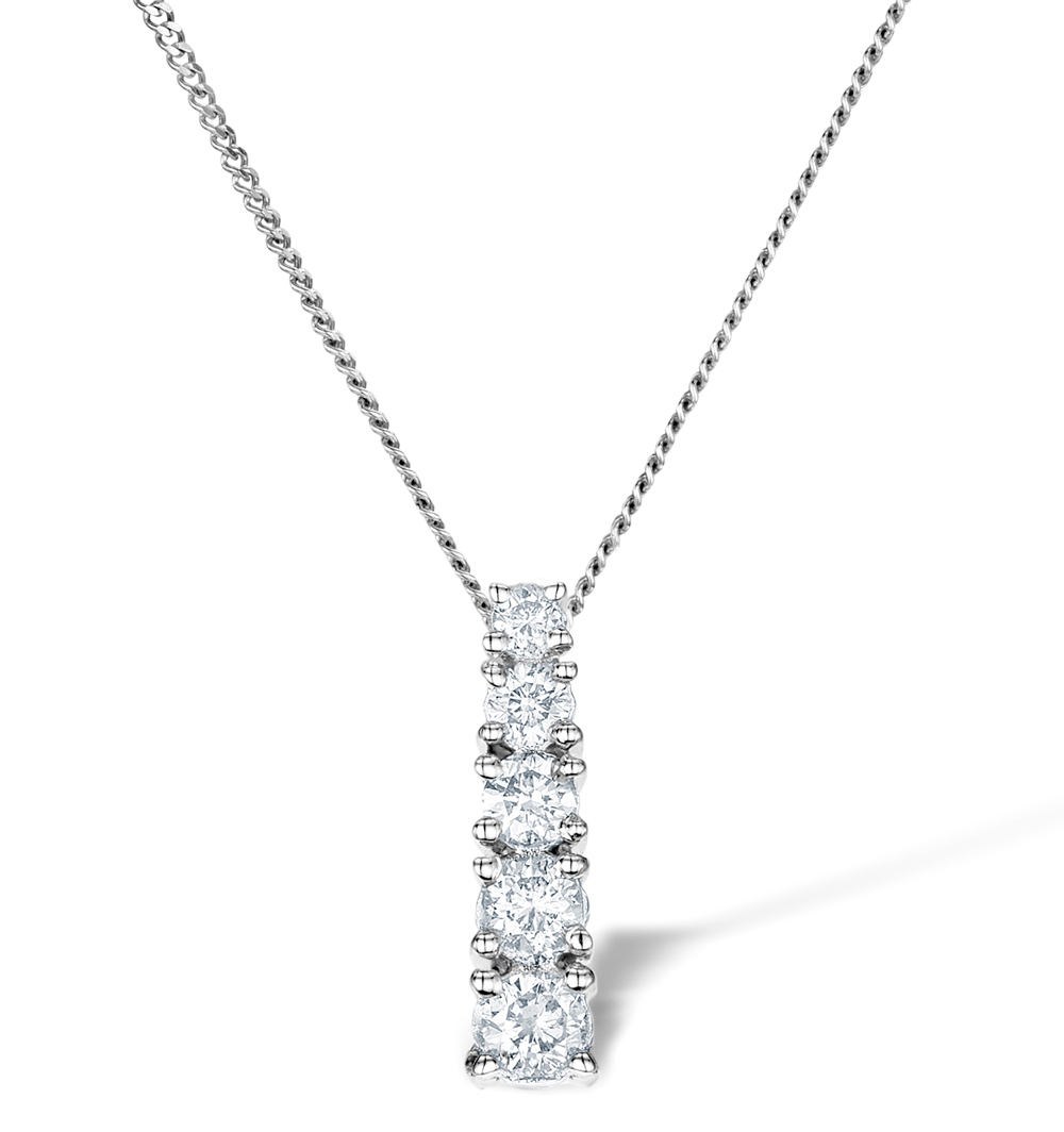 5 STONE DROP 0.33CT DIAMOND AND 9K WHITE GOLD PENDANT G4066