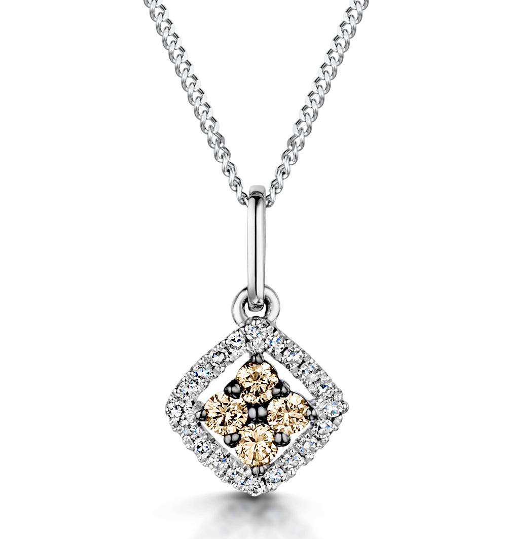 STELLATO CHAMPAGNE DIAMOND PENDANT 0.16CT IN 9K WHITE GOLD