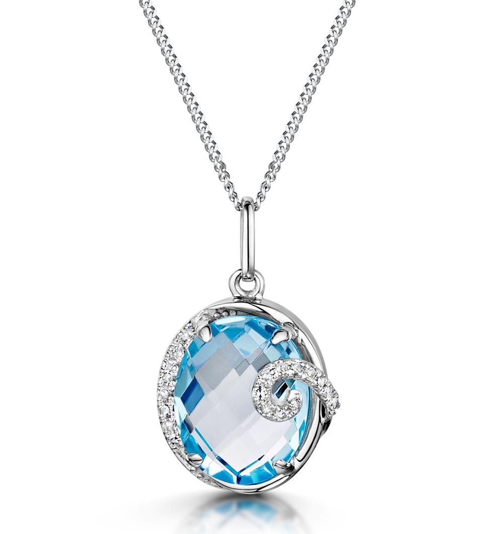 BLUE TOPAZ AND DIAMOND STELLATO COLLECTION PENDANT IN 9K WHITE GOLD