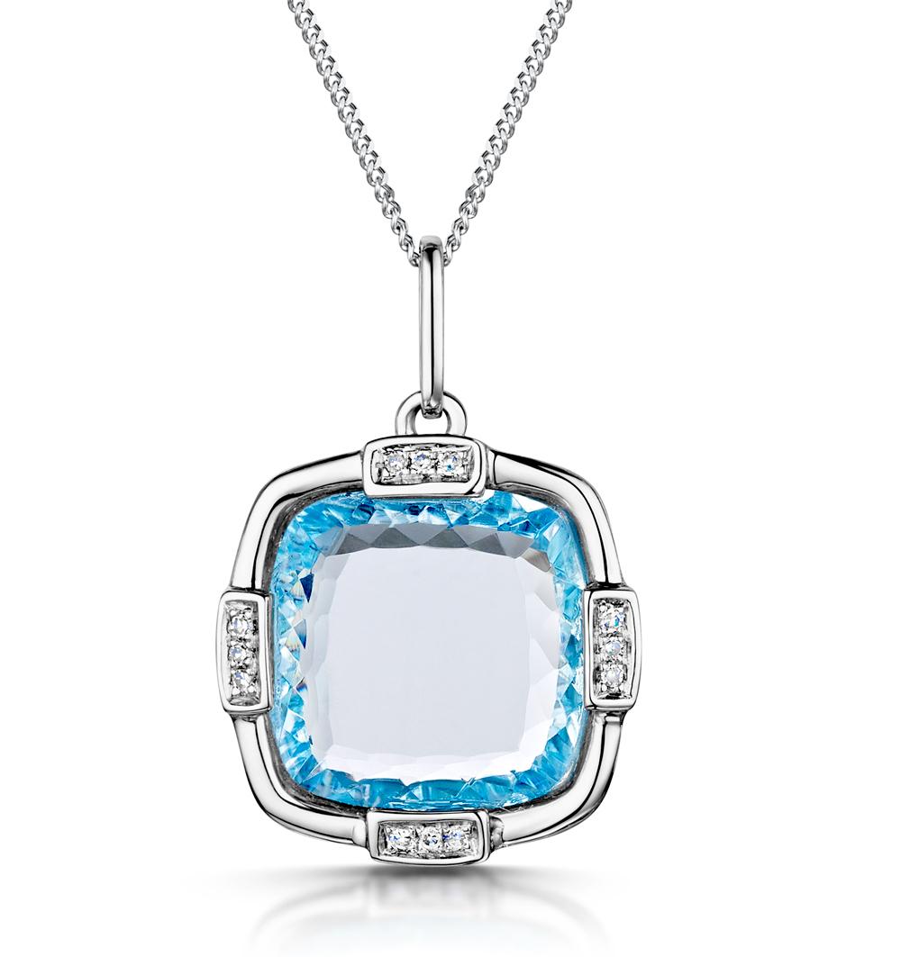 BLUE TOPAZ AND DIAMOND STELLATO PENDANT 0.04CT IN 9K WHITE GOLD