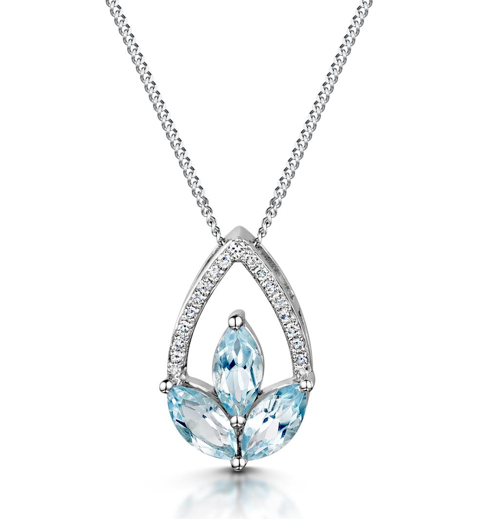 BLUE TOPAZ AND DIAMOND 0.05CT STELLATO PENDANT IN 9K WHITE GOLD