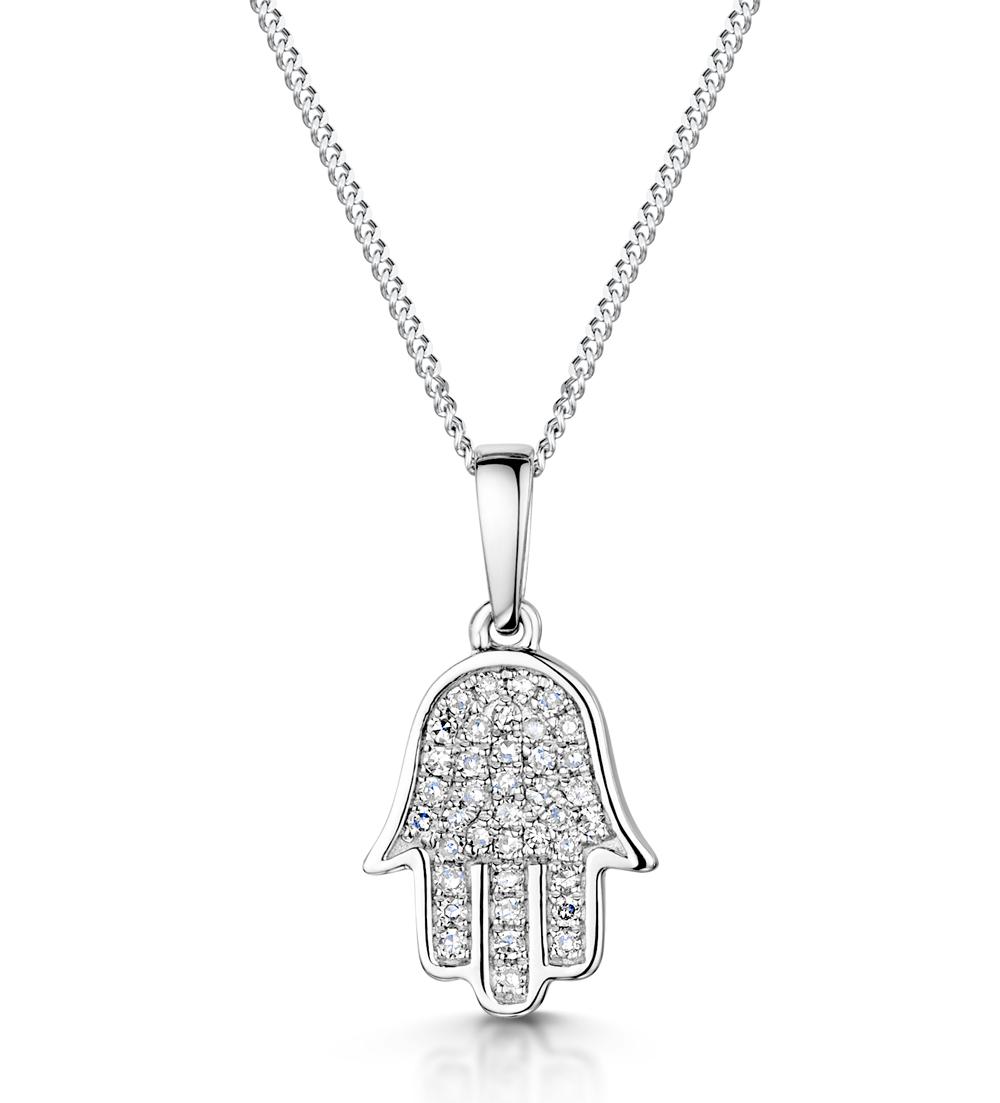 STELLATO COLLECTION DIAMOND HAMSA PENDANT 0.13CT 9K IN WHITE GOLD