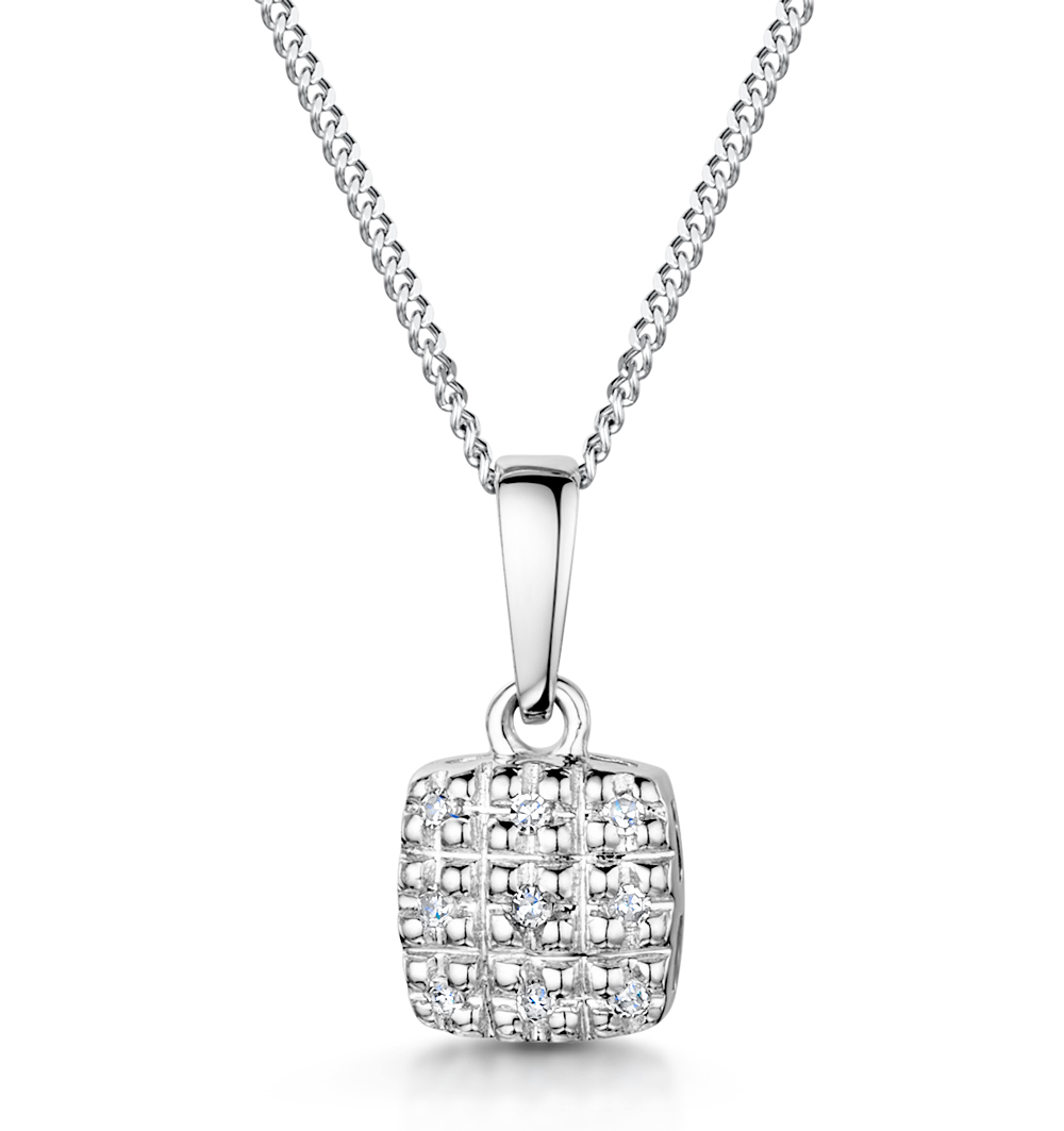 Stellato Collection Diamond Pendant in 9K White Gold - G4093