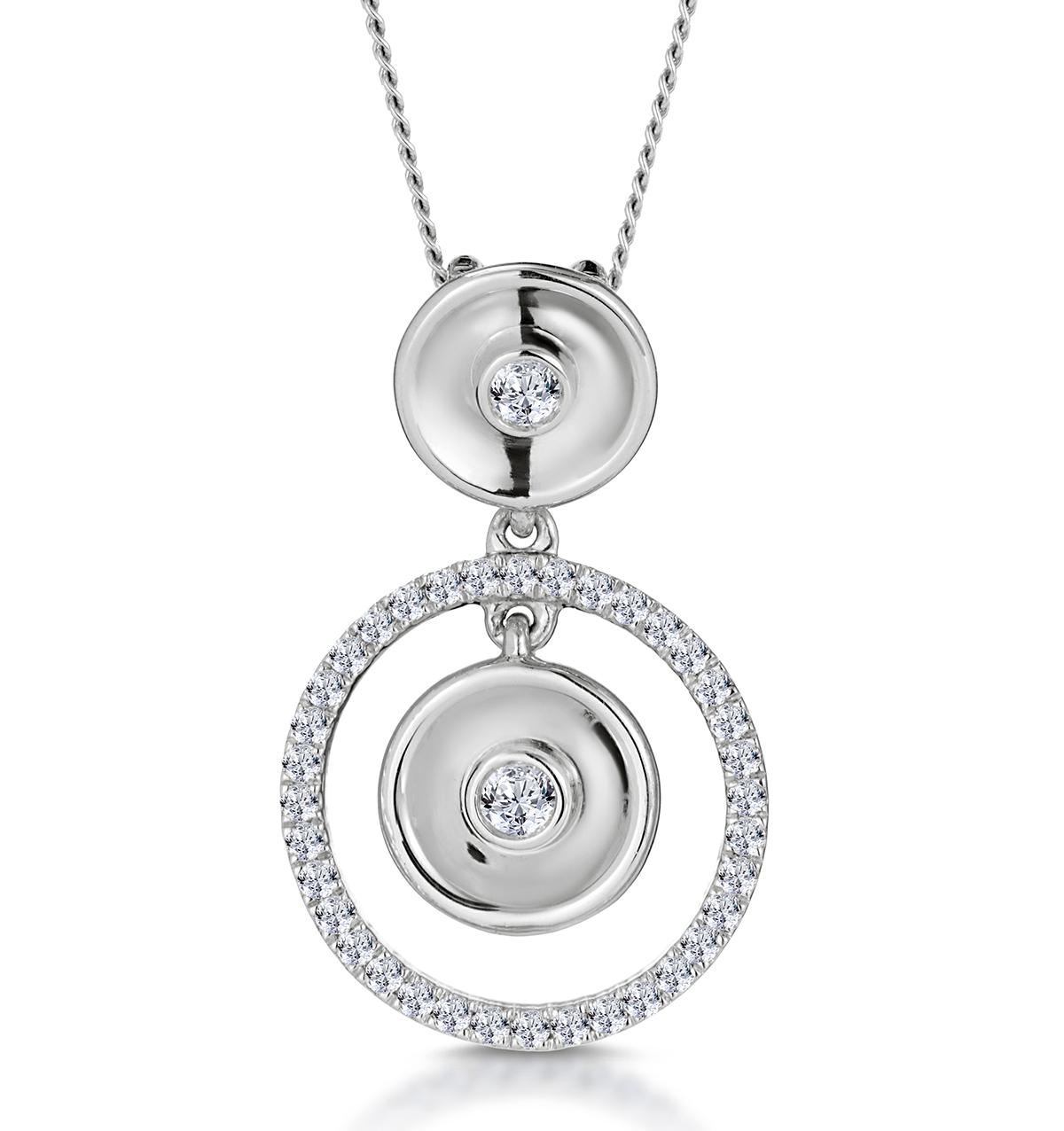 MASAMI DIAMOND HALO CIRCLES NECKLACE 0.20CT SET IN 9K WHITE GOLD