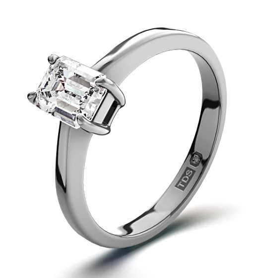 Emerald Cut Platinum Engagement Rings