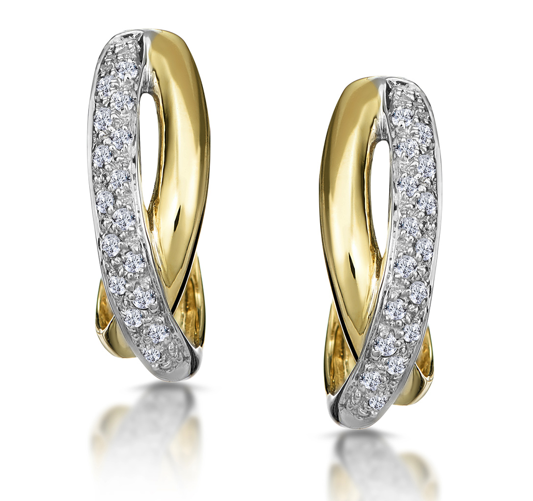 1/4 CARAT DIAMOND PAVE CROSSOVER EARRINGS IN 9K GOLD