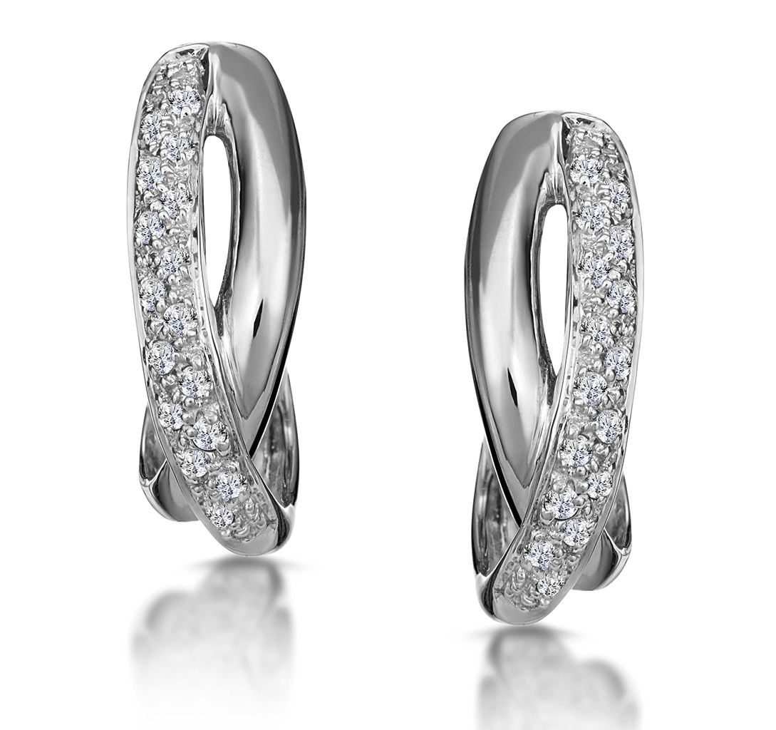1/4 CARAT DIAMOND PAVE CROSSOVER EARRINGS IN 9K WHITE GOLD