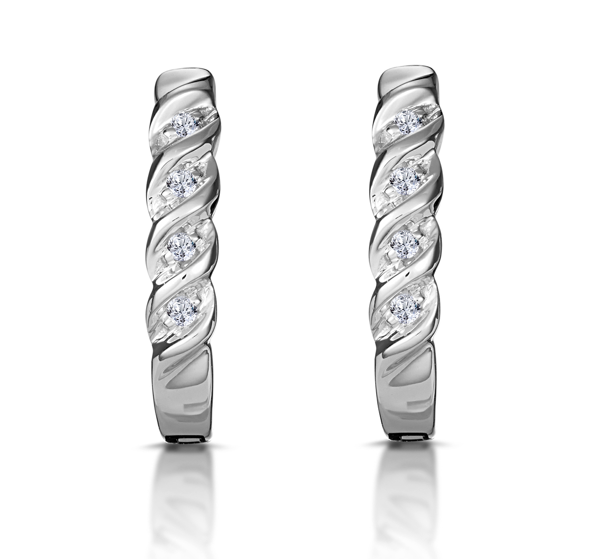 HOOP EARRINGS 0.07CT DIAMOND 9K WHITE GOLD