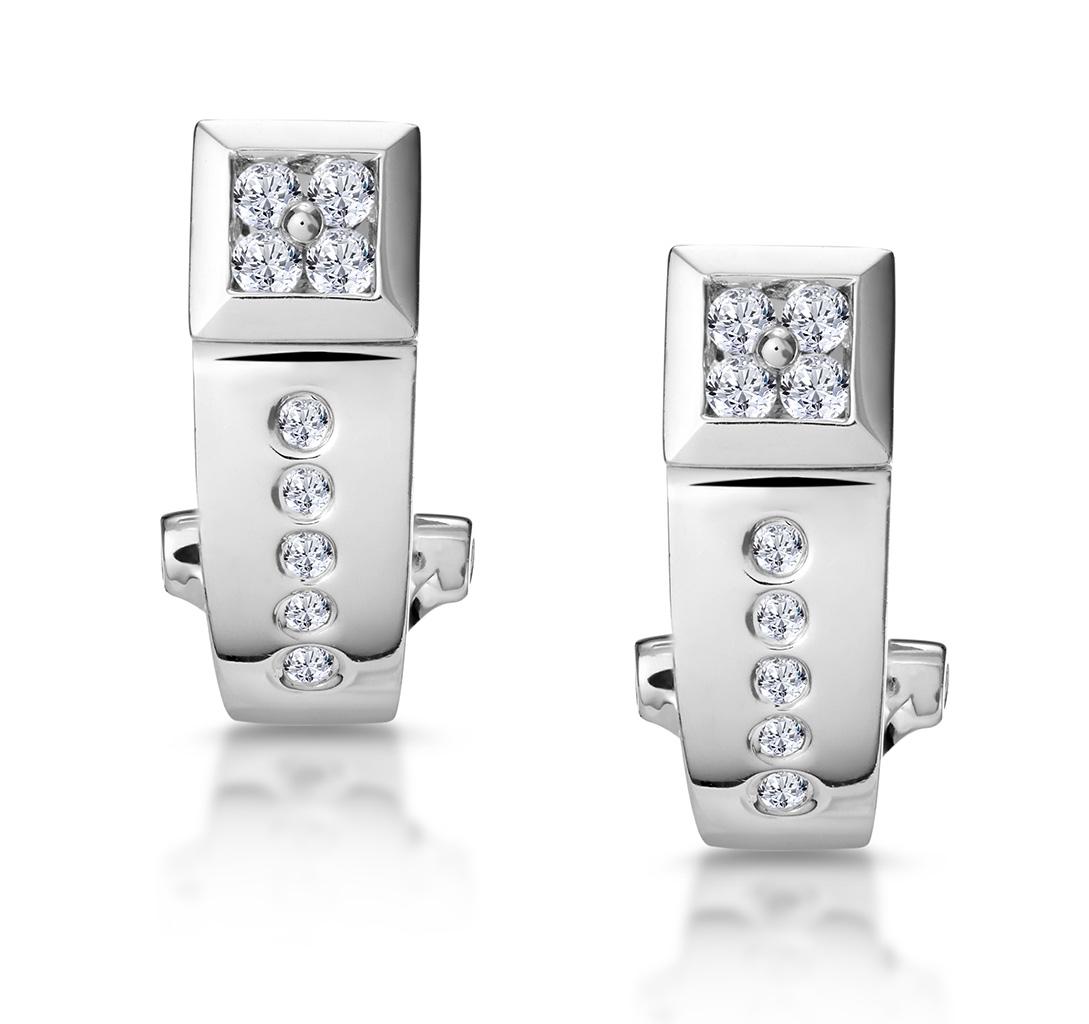 ELEGANT DIAMOND HUGGY EARRINGS IN 9K WHITE GOLD