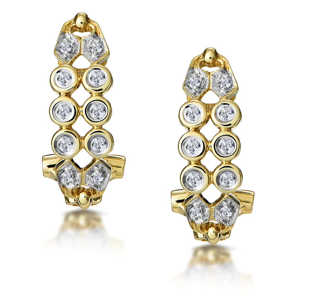 0.23CT DIAMOND STUDDED RUB OVER EARRINGS IN 9K GOLD