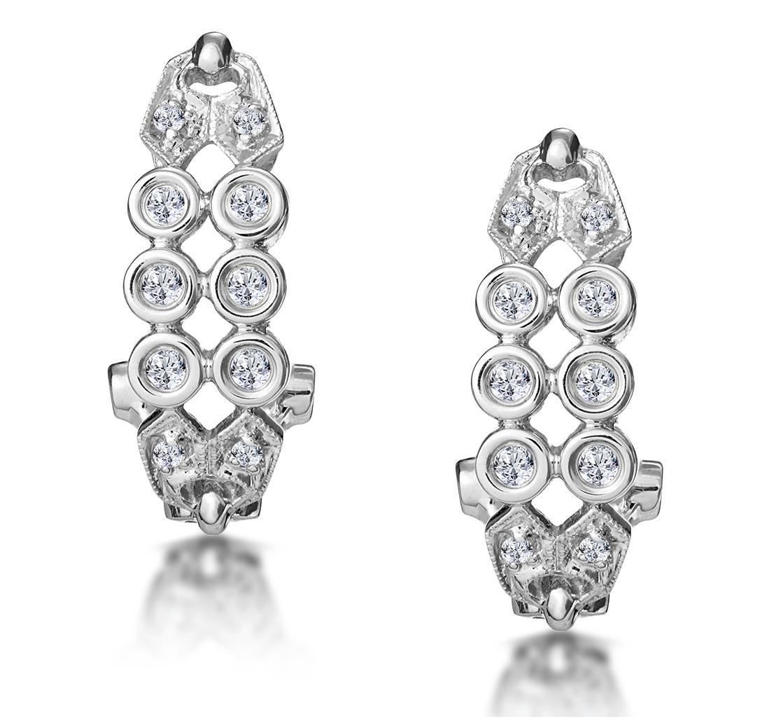 0.23CT DIAMOND STUDDED RUB OVER EARRINGS IN 9K WHITE GOLD