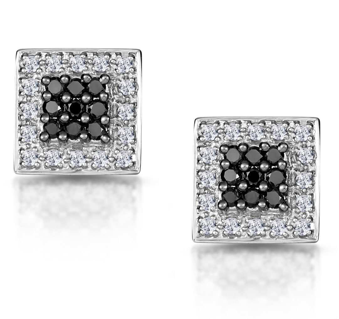 BLACK DIAMOND AND 0.30CT DIAMOND EARRINGS 9K WHITE GOLD
