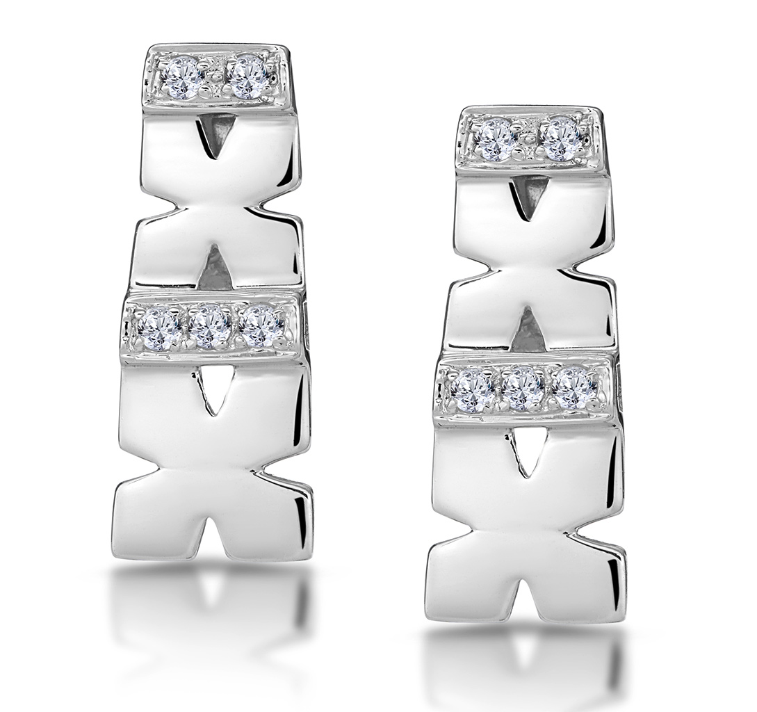 0.10CT DIAMOND PAVE KISSES EARRINGS IN 9K WHITE GOLD - RTC-H3870