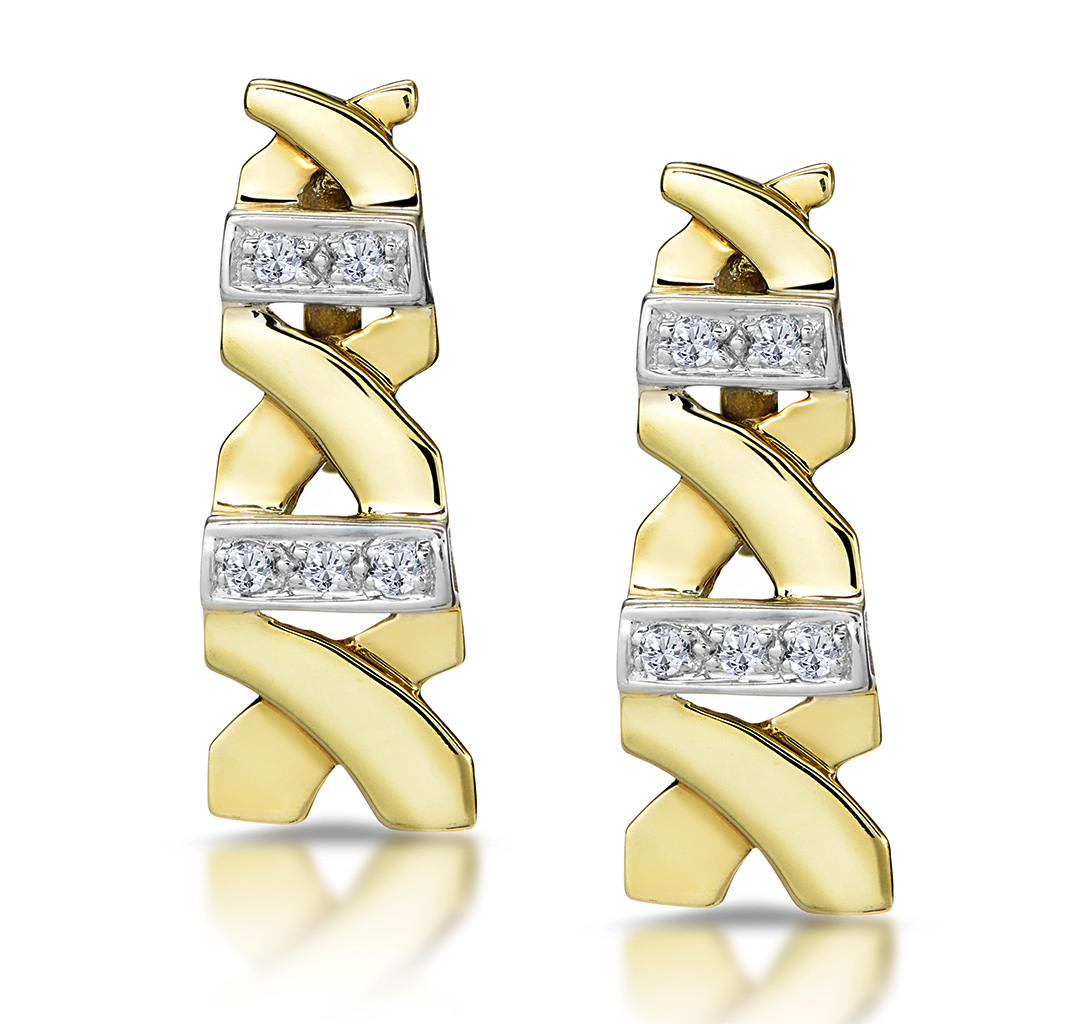 0.10CT DIAMOND PAVE KISSES EARRINGS IN 9K GOLD - RTC-H3871