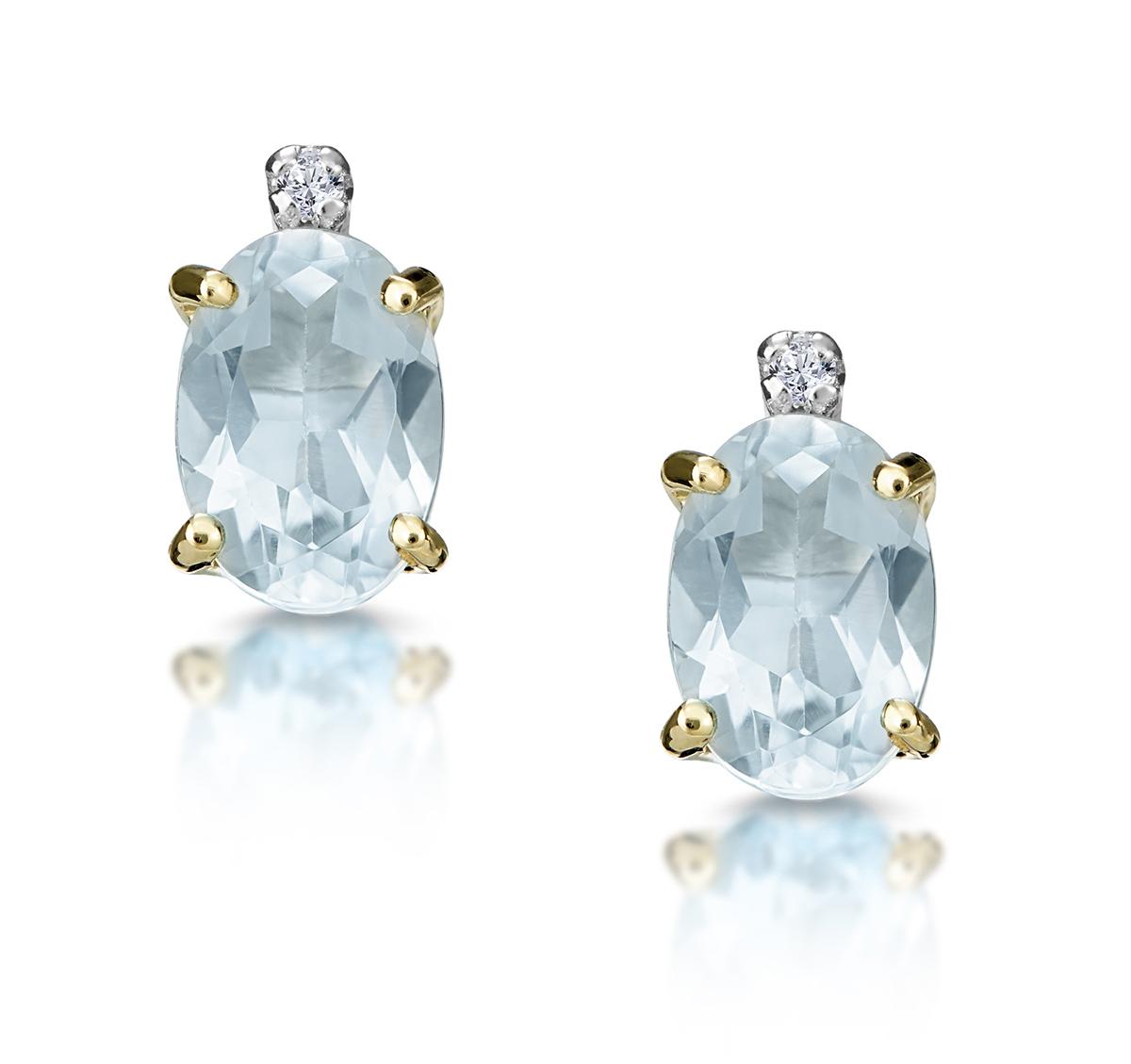 Aquamarine 0.80CT And Diamond 9K Yellow Gold Earrings