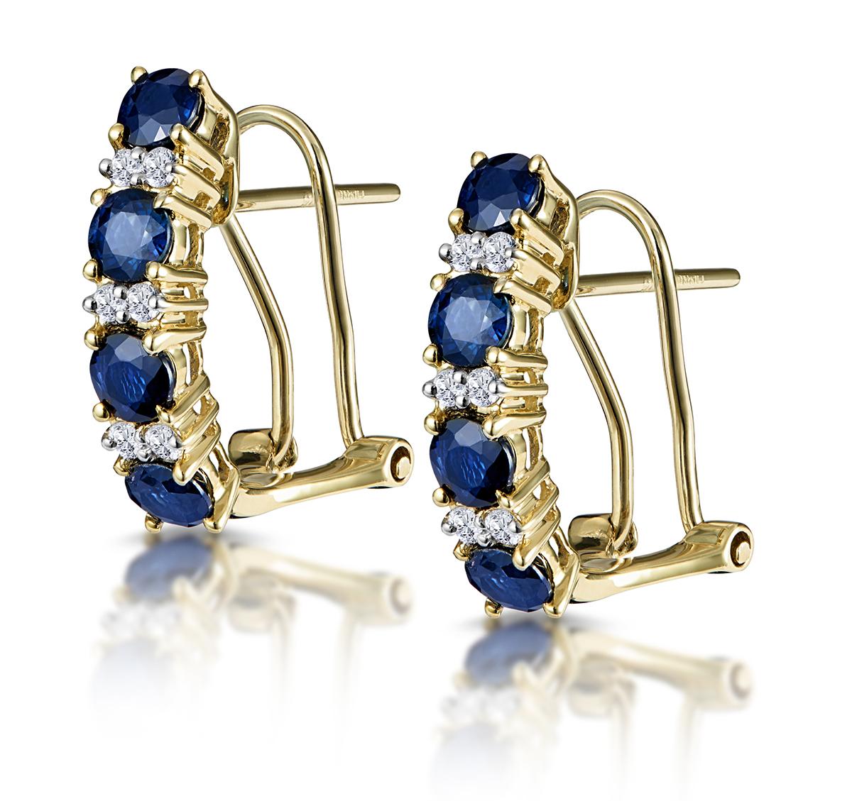 Sapphire 1.45CT And Diamond 9K Yellow Gold Earrings
