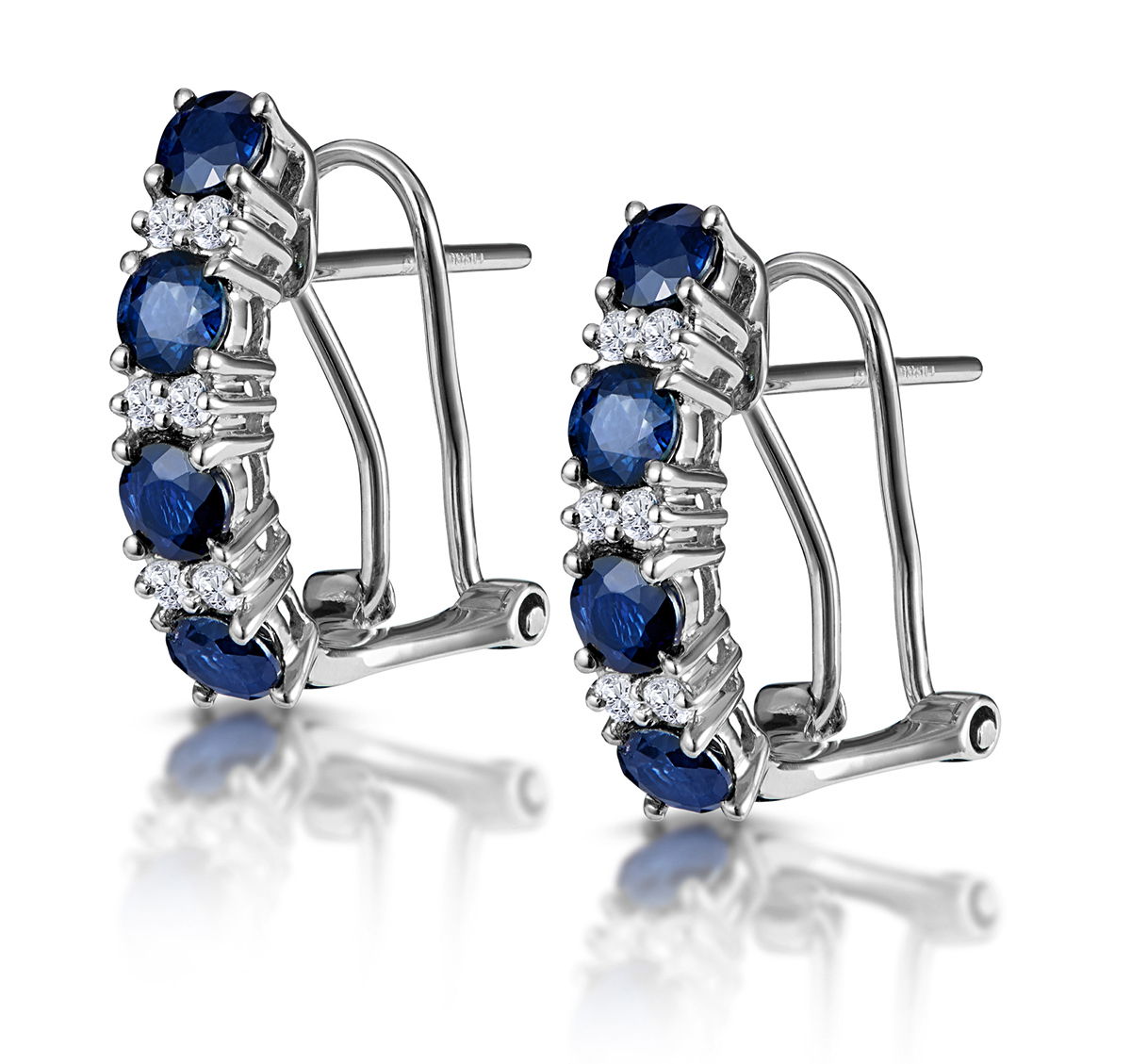 Sapphire 1.45CT And Diamond 9K White Gold Earrings