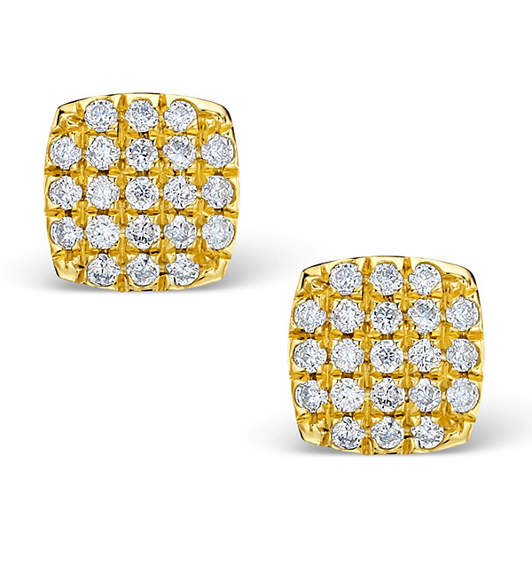 0.44CT DIAMOND AND 9K GOLD DAISY EARRINGS - H4537