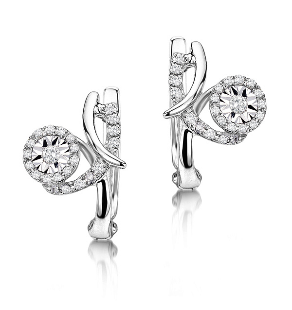 0.21CT DIAMOND AND 9K WHITE GOLD EARRINGS -  H4553