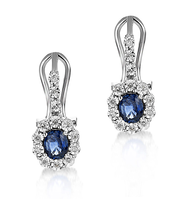 0.83ct Sapphire 0.13ct Diamond and 9K White Gold Earrings -  H4555