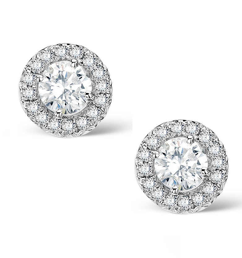 HALO DIAMOND EARRINGS - ELLA - 0.64CT 9K WHITE GOLD - H4565