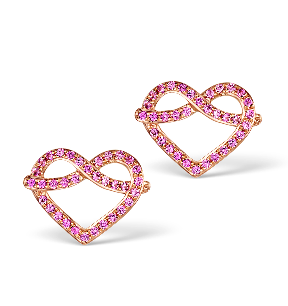 VIVARA COLLECTION PINK SAPPHIRE 9K ROSE GOLD HEART EARRINGS H4575