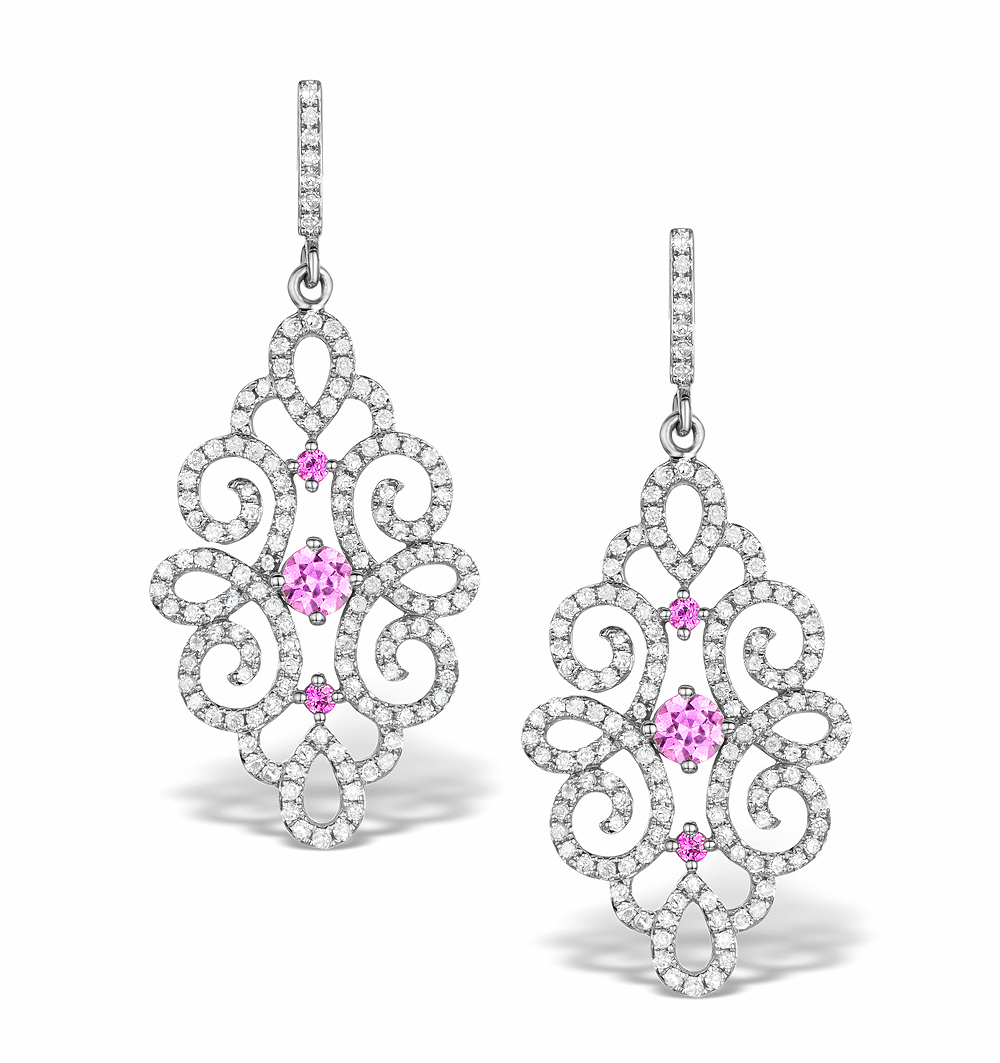 VIVARA COLLECTION PINK SAPPHIRE AND DIAMOND 9K GOLD EARRINGS H4576Y