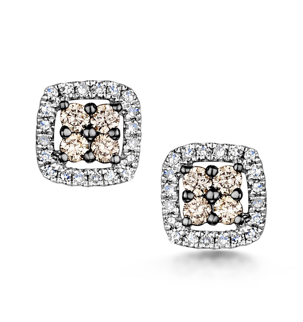 Stellato Champagne Diamond Halo Earrings 0.24ct in 9K White Gold