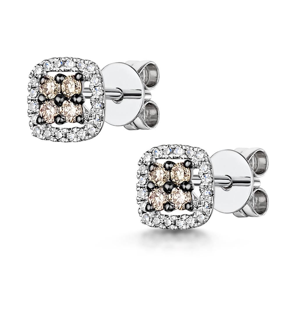 stellato champagne diamond halo earrings 024ct in 9k