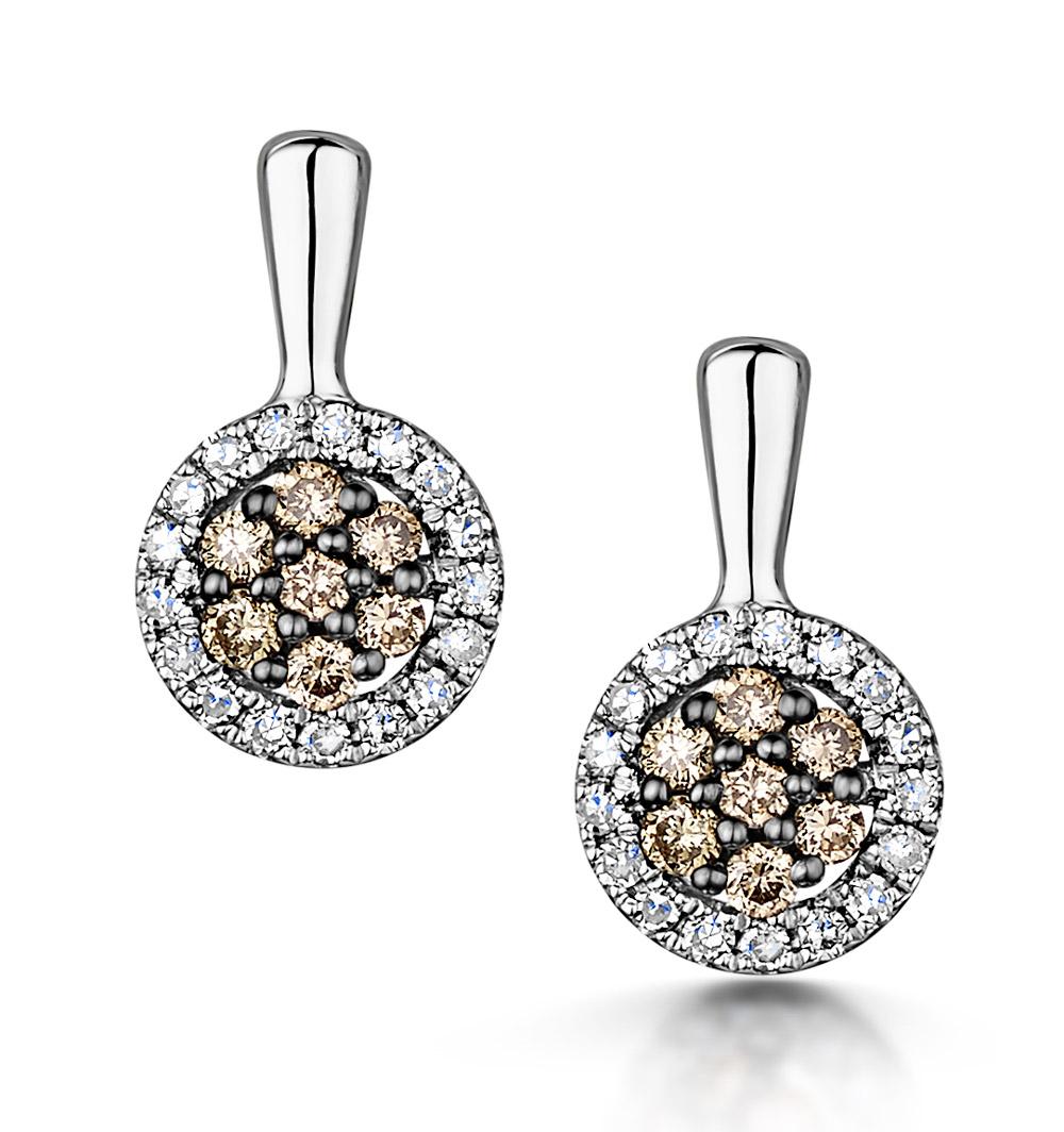 Stellato Champagne Diamond Halo Earrings 0.27ct in 9K White Gold