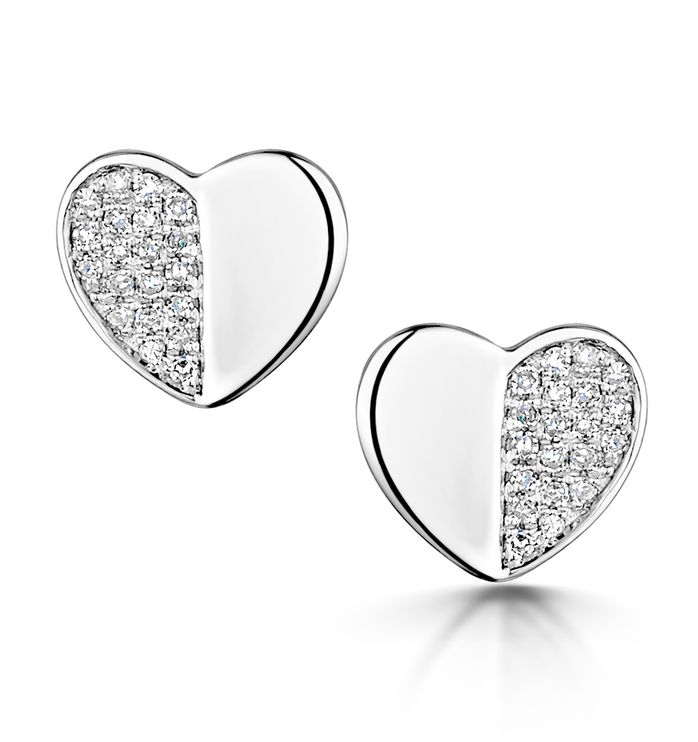 STELLATO COLLECTION DIAMOND EARRINGS 0.08CT IN 9K WHITE GOLD
