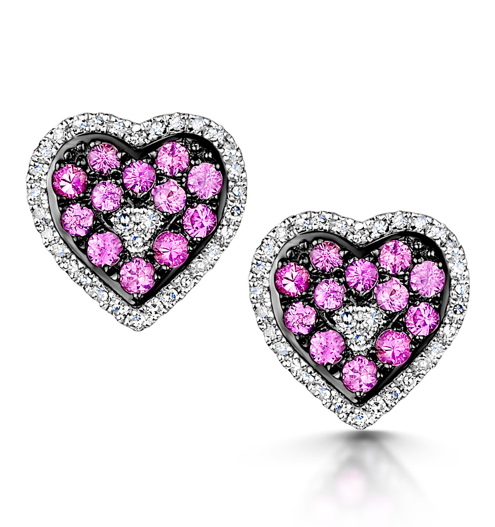 PINK SAPPHIRE DIAMOND STELLATO EARRINGS 0.14CT IN 9KW GOLD