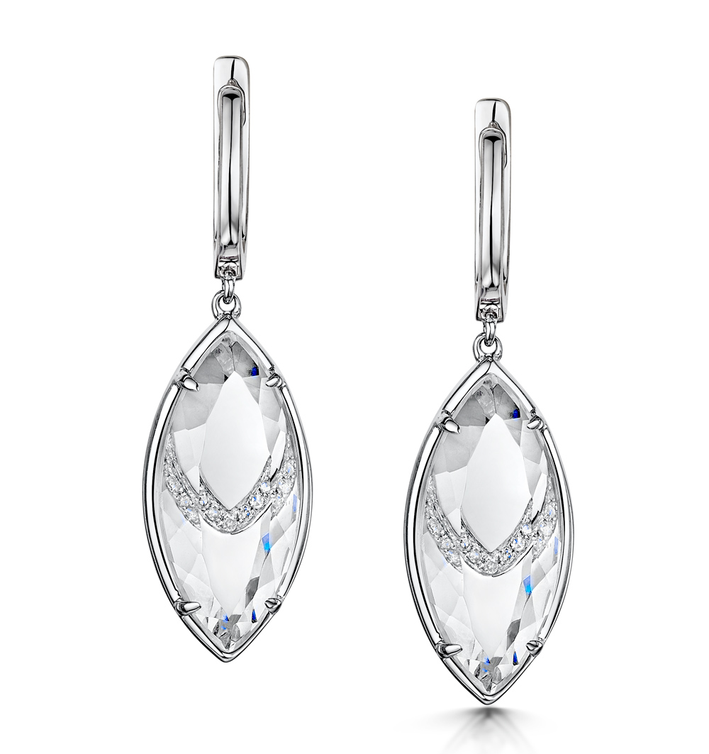 STELLATO COLLECTION QUARTZ AND DIAMOND EARRINGS IN 9K WHITE GOLD