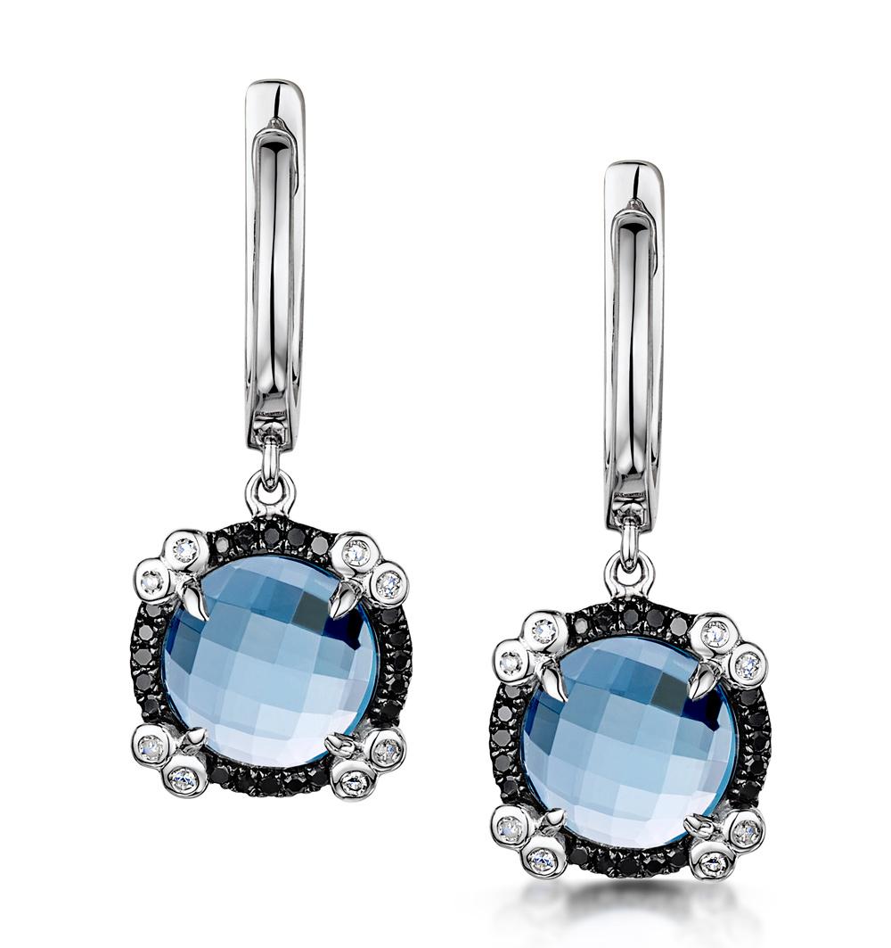 BLUE TOPAZ BLACK DIAMOND AND DIAMOND STELLATO EARRINGS 9K WHITE GOLD