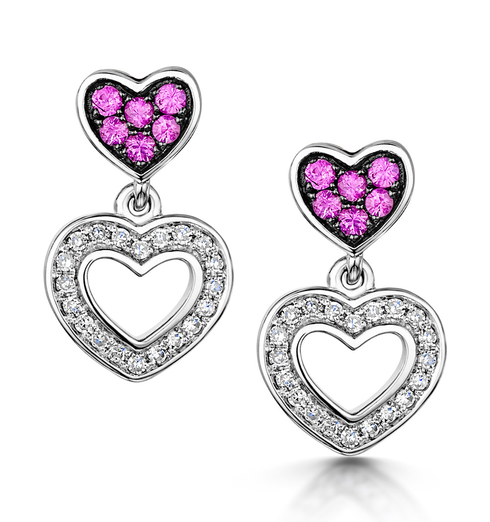PINK SAPPHIRE AND DIAMOND STELLATO HEART EARRINGS IN 9K WHITE GOLD