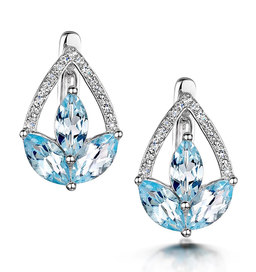 BLUE TOPAZ AND DIAMOND STELLATO EARRINGS 0.09CT IN 9K WHITE GOLD