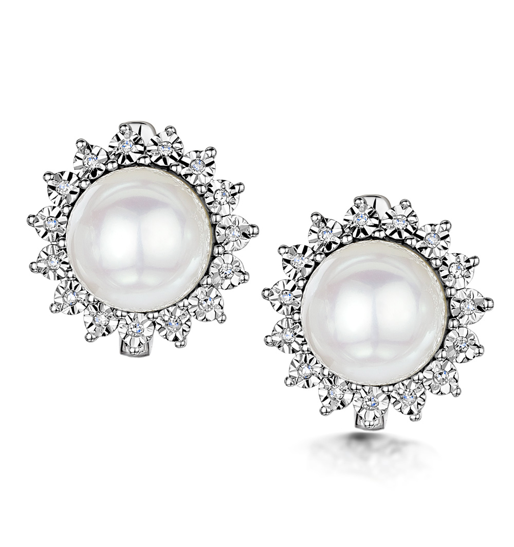 8.5MM PEARL AND DIAMOND STELLATO EARRINGS 0.08CT IN 9K WHITE GOLD