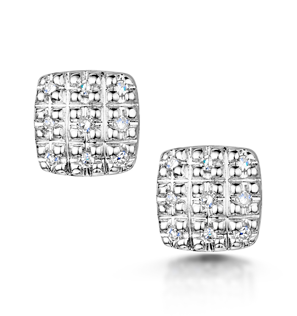 STELLATO COLLECTION DIAMOND EARRINGS 0.07CT IN 9K WHITE GOLD - H4595