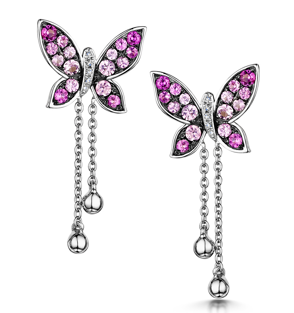 PINK SAPPHIRE AND DIAMOND STELLATO BUTTERFLY EARRINGS IN 9K WHITE GOLD