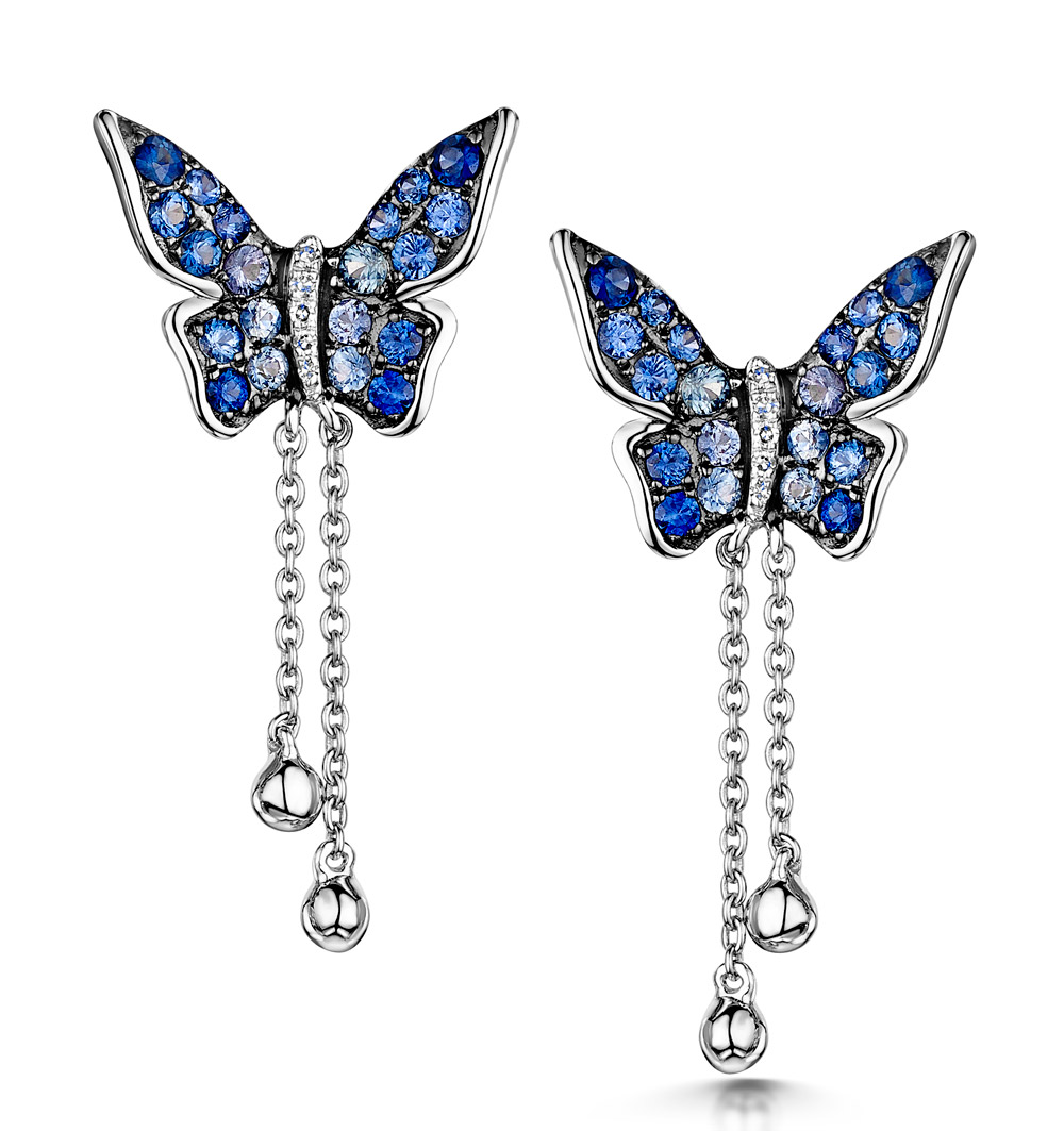 STELLATO COLLECTION SAPPHIRE BUTTERFLY DIAMOND EARRINGS 9K WHITE GOLD
