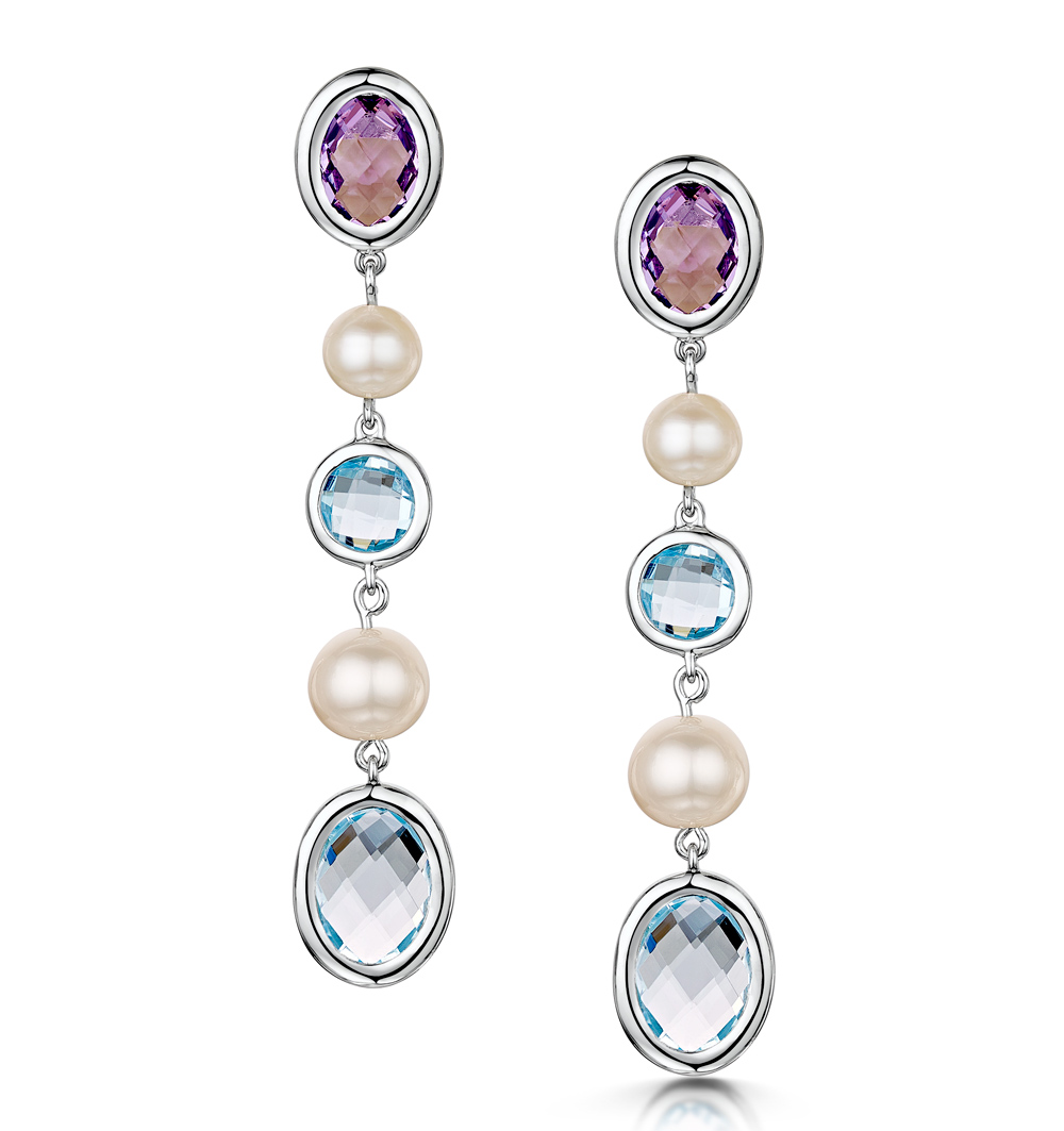 PEARL AMETHYST AND BLUE TOPAZ STELLATO EARRINGS IN 9K WHITE GOLD
