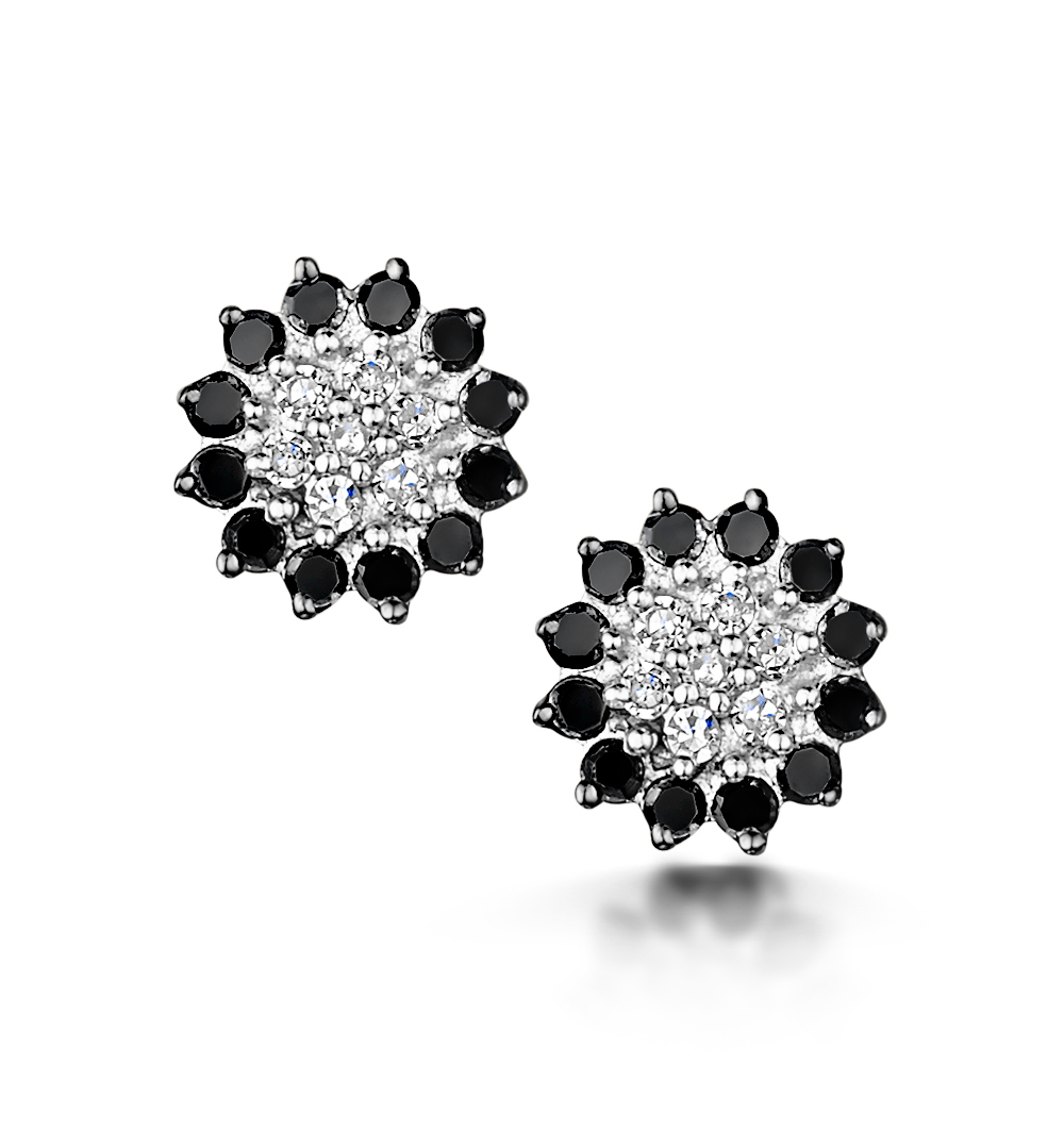 BLACK DIAMOND AND DIAMOND STELLATO EARRINGS IN 9K WHITE GOLD