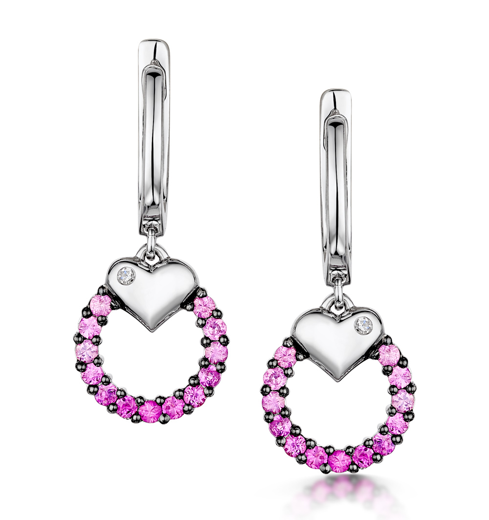 STELLATO COLLECTION PINK SAPPHIRE AND DIAMOND EARRINGS 9K WHITE GOLD
