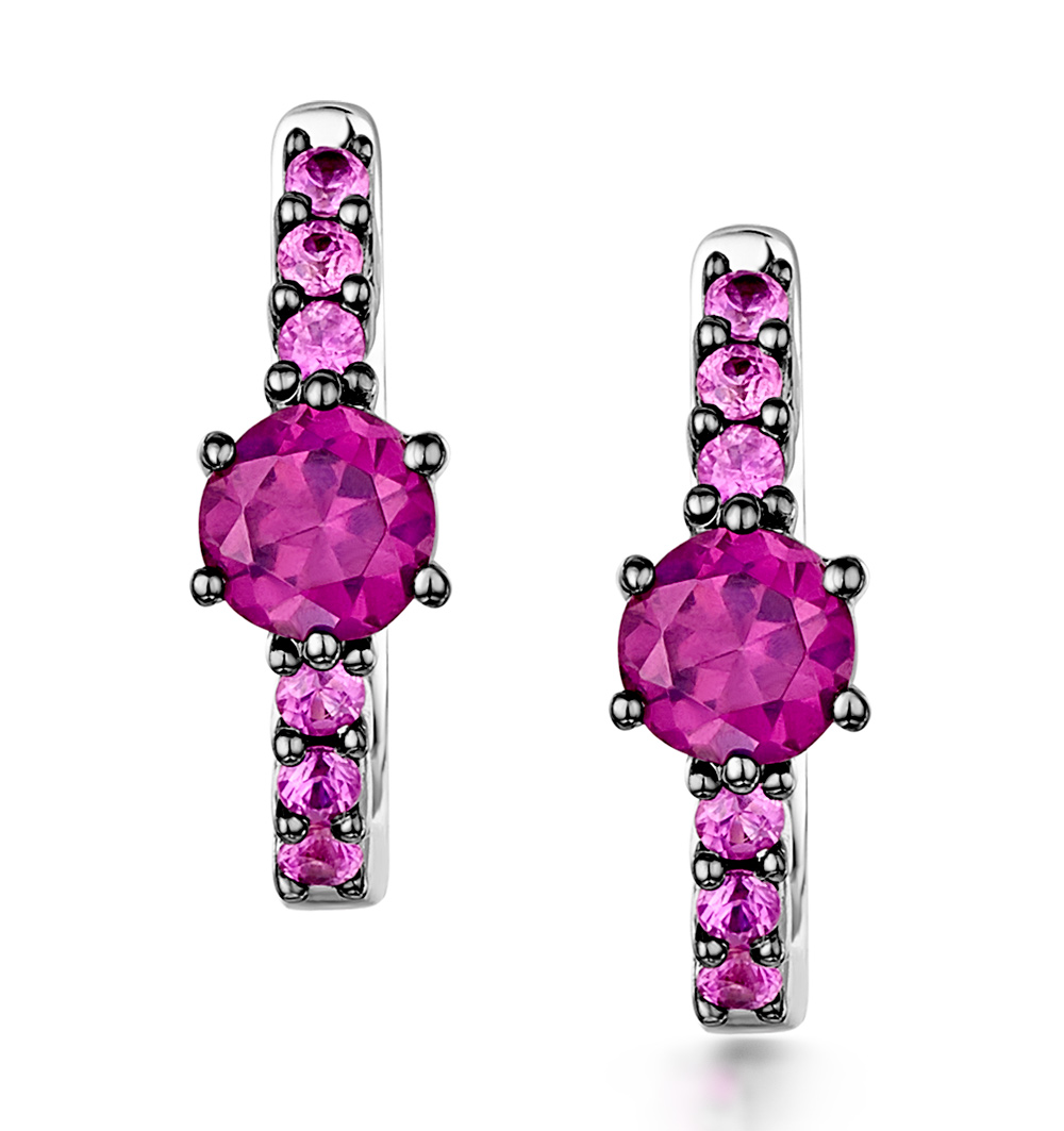 Rhodalite and Pink Sapphire Stellato Earrings in 9K White Gold