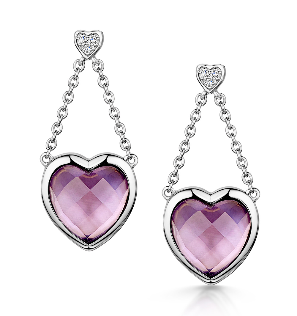 STELLATO COLLECTION AMETHYST AND DIAMOND EARRINGS IN 9K WHITE GOLD