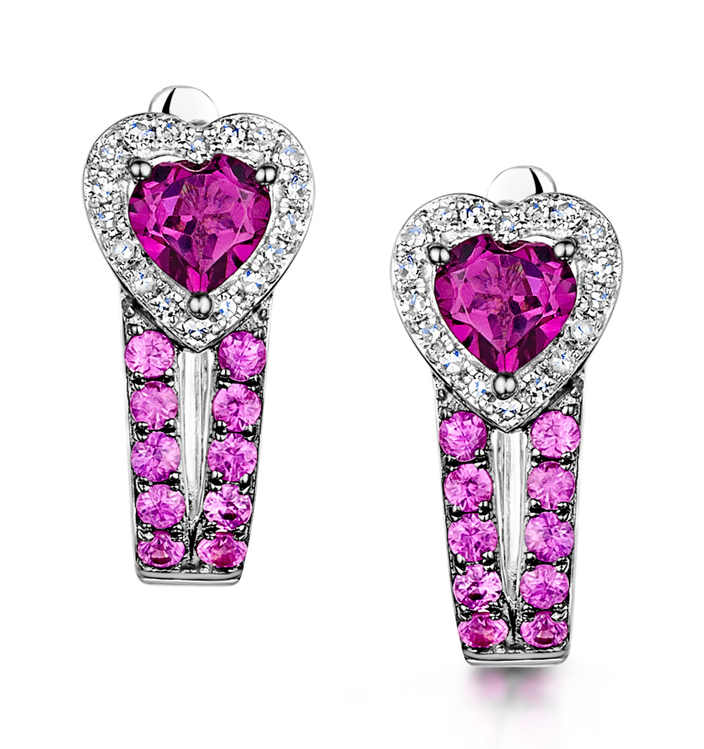 RHODOLITE PINK SAPPHIRE AND DIAMOND STELLATO EARRINGS IN 9K WHITE GOLD
