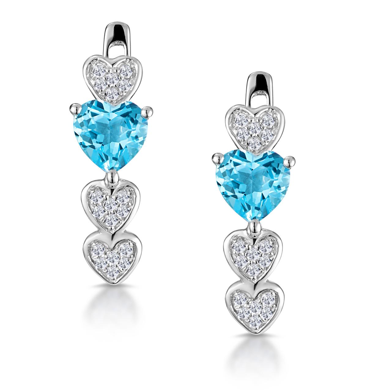 SWISS BLUE TOPAZ AND DIAMOND HEART STELLATO EARRINGS IN 9K WHITE GOLD