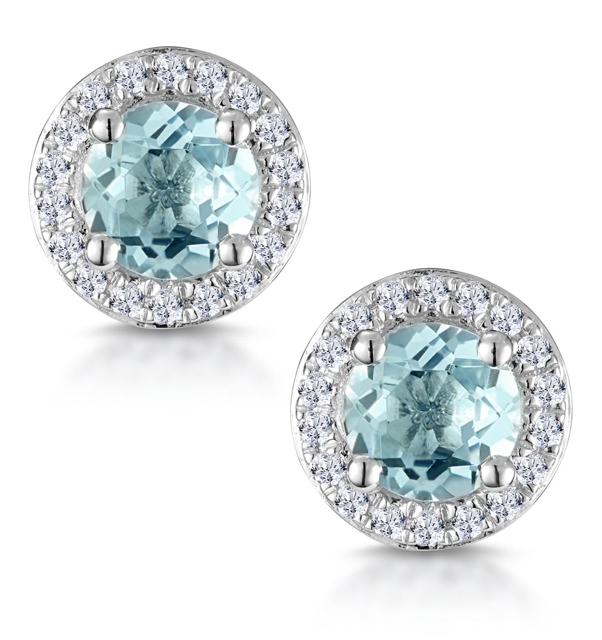 0.69CT AQUA MARINE AND DIAMOND HALO STELLATO EARRINGS IN 9K WHITE GOLD