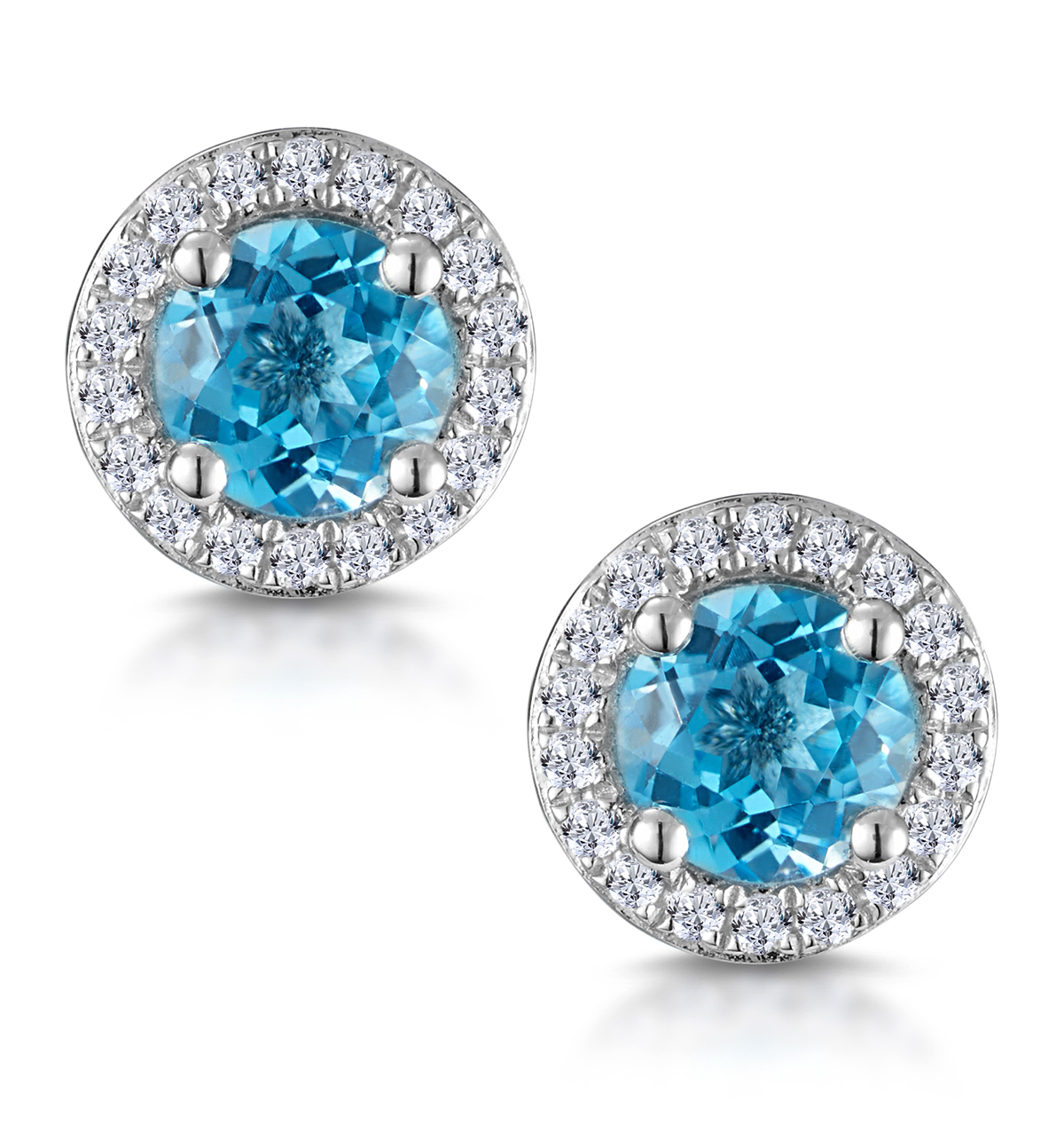 SWISS BLUE TOPAZ AND DIAMOND HALO STELLATO EARRINGS IN 9K WHITE GOLD